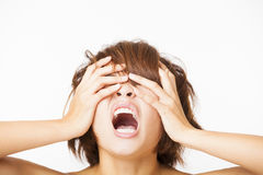 Stressed young woman and yelling screaming. Closeup stressed young woman and yelling screaming Stock Images
