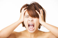 Stressed young woman and yelling screaming Stock Image
