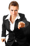 Stressful business woman pointing finger at you Stock Photography