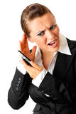 Stressful business woman talking on the phone Stock Photos