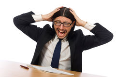 The stressful businessman  on white Stock Photo