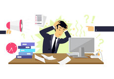 Stressful Condition Icon Flat. Stress health person, disorder and problem, businessman depression, mental attack psychological, busy and chaos illustration stock illustration