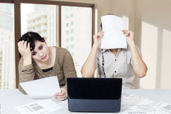 Stressful couple get many bill Royalty Free Stock Images