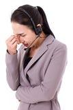 Stressful customer service staff Stock Image