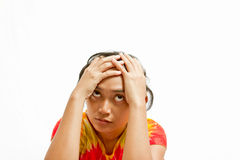 Stressful ethnic young woman portrait Royalty Free Stock Images