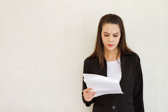 Stressful female business executive with text space Stock Photography