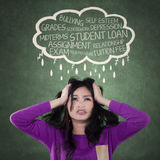 Stressful girl thinking her school problems Stock Images