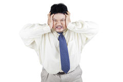Stressful an obesity businessman Royalty Free Stock Photo