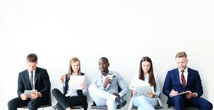 Stressful people waiting for job interview. Stressful people waiting for job interview Royalty Free Stock Photo