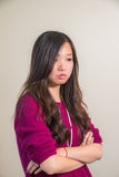 Stressful woman. Portrait of young woman looking stressed out Royalty Free Stock Photo