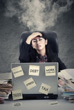 Stressful worker with smoke on head Stock Images