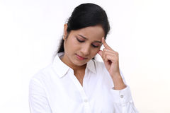 Stressful young business woman Royalty Free Stock Photos