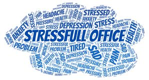 Stressfull Office word cloud. Wordcloud made with text only stock image
