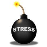 Stresu ostrzeżenie Pokazuje zagrożenie środek wybuchowego I Stresujący się Zdjęcia Stock