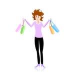 stresujący się dziewczyna zakupy Obrazy Stock