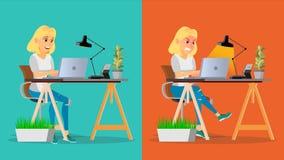 Stresujący się Out kobieta wektor Blondynki dziewczyna Pracuje Przy biurem Stresująca praca, praca osoba biznesu jest zmęczona Ci ilustracji