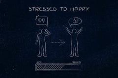 Stresujący się szczęśliwy: odmienianie postawa, postępu bubbl, prętowy & komiczny zdjęcia stock