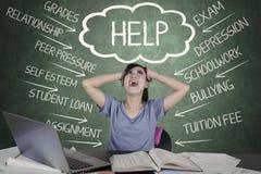 Stresujący student collegu ma wiele problemy obraz royalty free