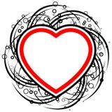 streszczenie kręgów karty zwojów kształt serca walentynki Obraz Royalty Free