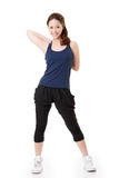 Stretch. Sport girl of Asian doing stretch exercise, full length portrait  on white background Stock Photography