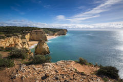 Stretch of the Algarve coastline and beaches from the Ponta do Altar promontory in Ferragudo, Algarve, Portugal Royalty Free Stock Images