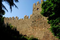 Stretch of ancient city walls in Monselice town in the province of Padua in the Veneto (Italy) Royalty Free Stock Photo