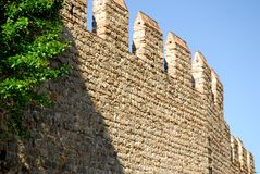 Stretch of ancient city walls in Monselice town in the province of Padua in the Veneto (Italy) Royalty Free Stock Image