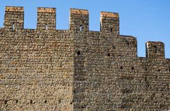 Stretch of ancient walls that changes orientation in Monselice town in the province of Padua in the Veneto (Italy) Royalty Free Stock Photos