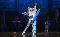 """The stretch of blue flowers.- ballet """"One Thousand and One Nights"""" Stock Image"""