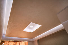 Stretch ceiling film. The design of the apartment. Renovated apa Royalty Free Stock Images