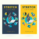Stretch ceiling vector tools and worker business card concept de Royalty Free Stock Photos