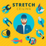Stretch ceiling vector tools and worker illustration concept des Stock Photos