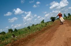 A stretch of dirt road, Uganda. Royalty Free Stock Image