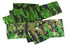Stretch and folded fingerless arm sleeve in green camouflage pat. Terns to cover and protect arm from over exposure of harmful sun, UV ray while doing outdoor Stock Photography
