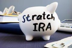 Stretch ira written on a piggy bank. Retirement. Stretch ira written on a piggy bank. Retirement concept stock photos