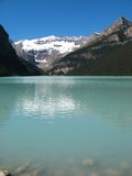A stretch of Lake Louise. Quiet scenery of Lake Louise under a clear blue sky Royalty Free Stock Image