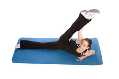Stretch laying down smile Royalty Free Stock Photos