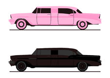 Stretch limo. Cartoon stretch limo Flat vector Royalty Free Stock Photo