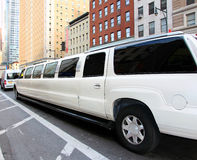Stretch Limo. White stretch limo going on Eight  avenue in Manhattan,NY Royalty Free Stock Photos