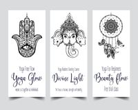 Stretch and Strength. Yoga card design template. Black and white. Banner for spiritual retreat or yoga studio. Ornamental business cards, oriental pattern vector illustration