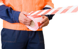 Stretch warning tape Stock Photography