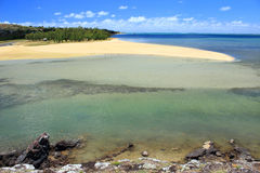 Stretch of white sandy beach, Rodrigues Island royalty free stock images