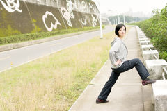Stretch woman Stock Photo
