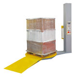 Stretch wrapping. For pallet protection during transport isolated Stock Photography