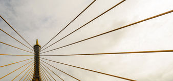 Stretched cable pairs of Bhumibol Bridge. In Thailand Stock Image
