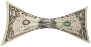 Stretched Dollar. A Stretched U.S. Dollar Bill Royalty Free Stock Images
