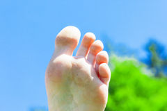 Stretched foot into the air Royalty Free Stock Image