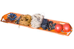Stretchers, helmet and other rescue facilities Stock Photo