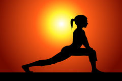 Stretching. Vector silhouette of a woman doing stretching Stock Image