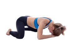 Stretching of adductors. Stretching pose executed with a professional trainer Stock Images